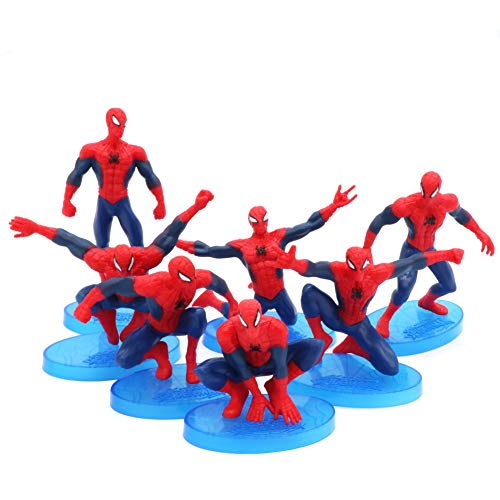 Cartoon Mini Spiderman Figures Cake Topper Solid PVC Movie Heroes For Children Birthday Cake Decoration (7pcs)