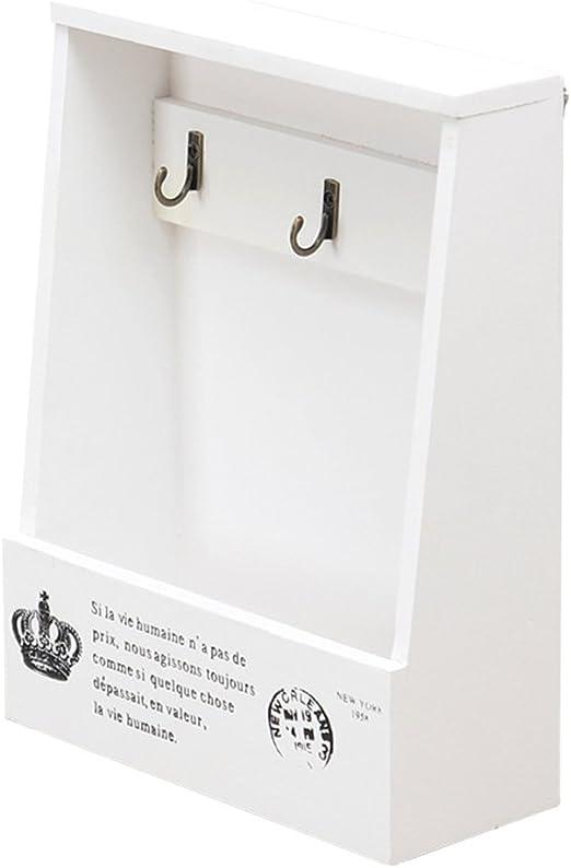 OUNONA Perchero de Llaves con Caja de Madera Organizador de Cartas ...