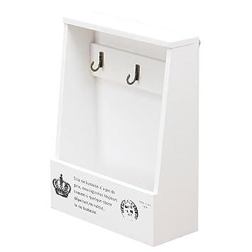 OUNONA Perchero de Llaves con Caja de Madera Organizador de Cartas Almacenamiento con Ganchos Decoración del Hogar (Blanco)