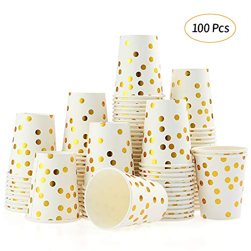 Disposable Paper Cups Esonmus 100pcs/set 9 oz Gold Dot Stamped Party Cups Set of 100pcs Paper Cup Golden Polka Dot Disposable Cups Disposable Beverage Cups ()