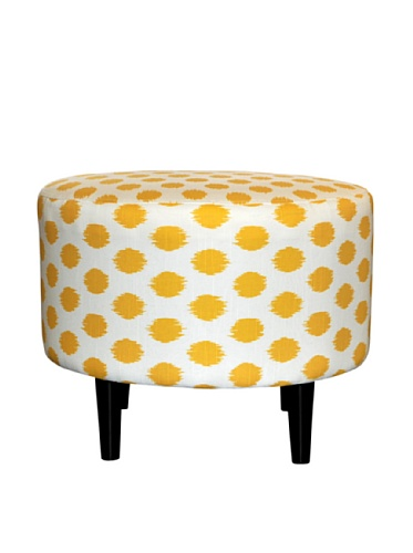 Sole Designs JoJo Series Sophia Collection Round Upholstered Ottoman with Espresso Leg Finish, Yellow For Sale