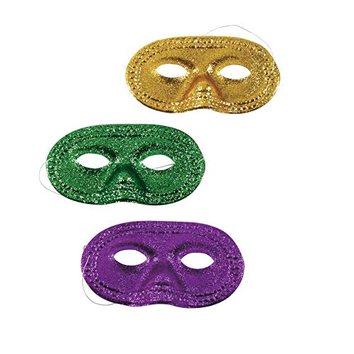 Fun Express Mardi Gras Glitter Half Masks (1