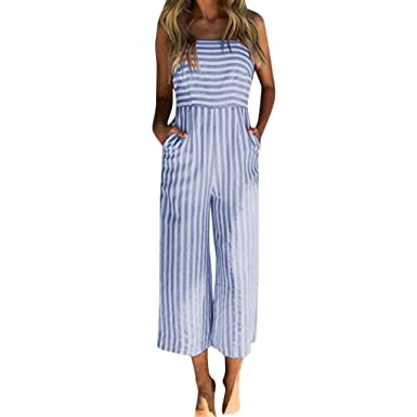 b63340b1f65 Rambling Fashion New Casual Women s Summer Jumpsuits Striped Tie Back  Sleeveless Backless Wide Long Pants Rompers