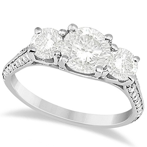 18k Gold 3 Stone Diamond Engagement Ring with a Double Row of Pave Set Side Stones