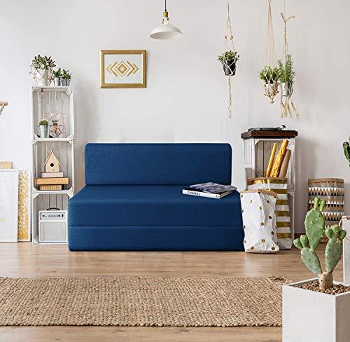 Urban Wood 5×6 Feet High-Density Foam Sofa Cum Bed Furniture Three Seater Blue