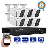 Security Camera System,SMONET 8CH Full 1080P Video Security System with 1TB HDD(AHD DVR Kits), 6PCS 1080P Outdoor/Indoor Bullet Cameras,Night Vision,P2P,Free APP,Easy Remote Review,Motion Alert