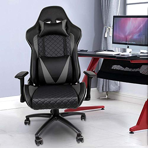 High Back Gaming Chair, Office Chair Adjustable Computer Gaming Chair, Soft PU Leather PC Gaming Chair, Ergonomic Executive Swivel Desk Chair with Headrest & Lumbar Support E-Sports Chair for Adults