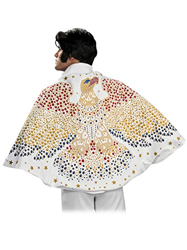 Elvis Cape with Eagle Design Costume, White, One Size -