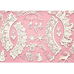 FOUR-C Cake Baking Mat Lace Mat Silicone Cake Mold for Decoration Color Pink