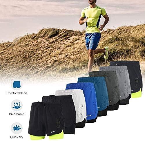 1ショーツメンズ速乾性通気性のアクティブトレーニングスポーツジョギング・マラソンサイクリングフィットネスで2 (Color : Dark Grey+Green, Size : XXL(EU))