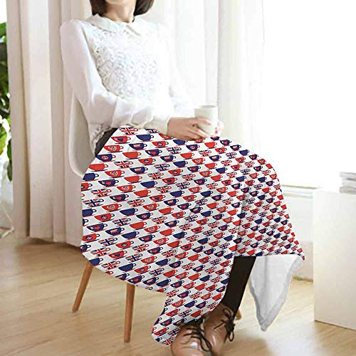 London Summer Blanket,Tea Party Theme Flag Pattern Cups Traditional Drink Independence Day Lightweight Breathable Flannel Fabric Machine Washable (60