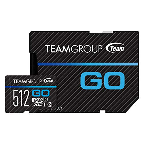 TEAMGROUP GO Card 512GB Micro SD Card for GoPro & Action Cameras, MicroSDXC UHS-I U3 High Speed Flash Memory Card with Adapter for Outdoor, Sports, 4K Shooting TGUSDX512GU303