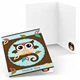 Owl - Look Whooo's Having A Baby - Baby Shower Thank You Cards - Set of 8