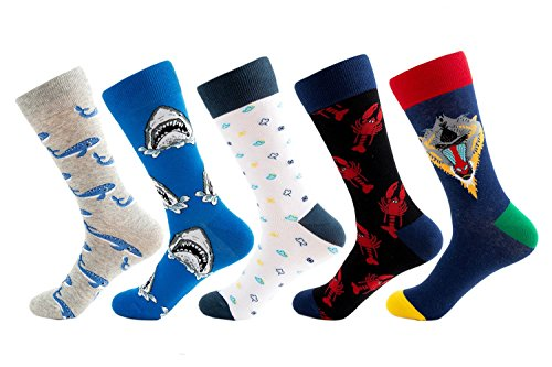 SherryDC Men's Seafood Pattern Cartoon Novelty Crazy Funny Casual Crew Socks 5-Pack (5-pack(shark)) (Cartoon Pattern Casual)