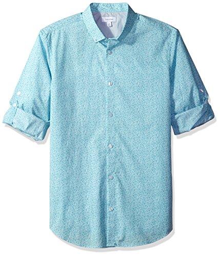Calvin Klein Men's Long Sleeve Voile Floral Roll-Tab Button Down Shirt, Aqua Air, 2X-Large
