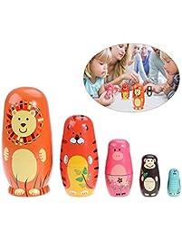TOYMYTOY 5pcs Cute Nesting Dolls Russian Handmade Wooden Cartoon Animals  Pattern Doll Toy Gift