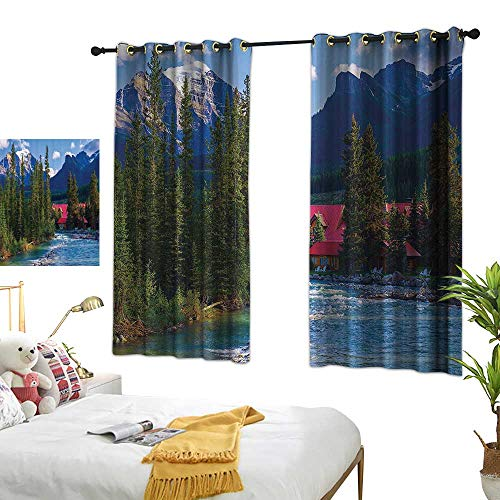 Warm Family Thermal Insulated Drapes for Kitchen/Bedroom Lake House Decor Pipestone River Rushes Past Log Cabins in Lake Louise Village Noise Reducing 55