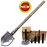 SLFC Military Folding Shovel - Portable Multitool Tactical Entrenching Tool for Camping,Compass Backpacking Outdoor Hiking Garden Snow Heavy Duty Emergency Survival Gear Sports & Outdoors(Golden)
