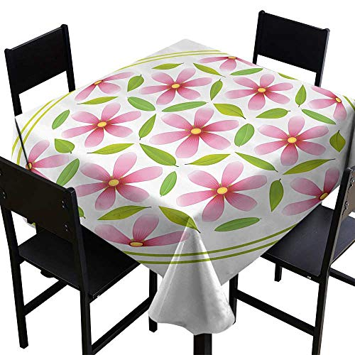 OUTDRART Table Cover Home Decoration Floral,Flower of Life with Florets and Leaves Inside Circle Cosmos Beauty Image,Light Pink Fern Green,W54 x L54 for Cards ()