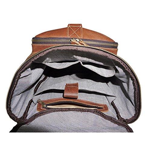 SHFANG Herren Doppel Umhängetasche große Kapazität Outdoor Tote Tasche Ledertaschen verschleißfest und langlebig rötlich braun