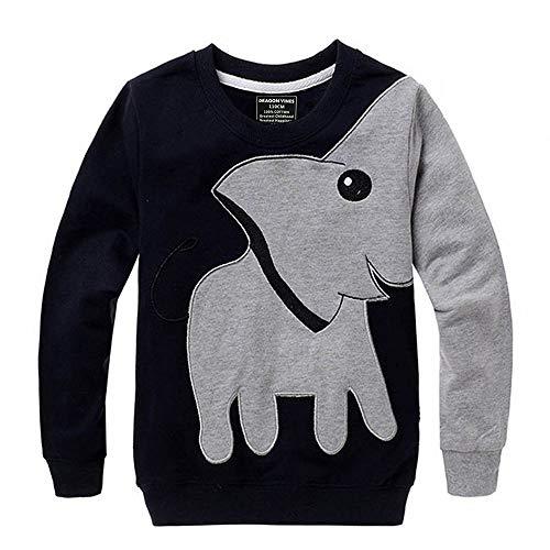 Elephant Boys Shirts Toddler Long Sleeve Top Toddler Kids Sport Head Sweatshirt (4T, Black)