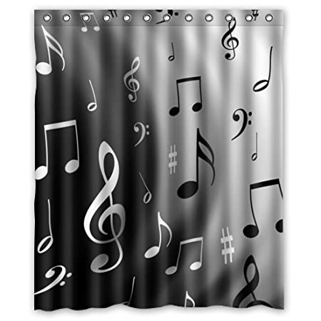 Music Shower Curtain Universal White Black Notes Amazoncouk Kitchen Home