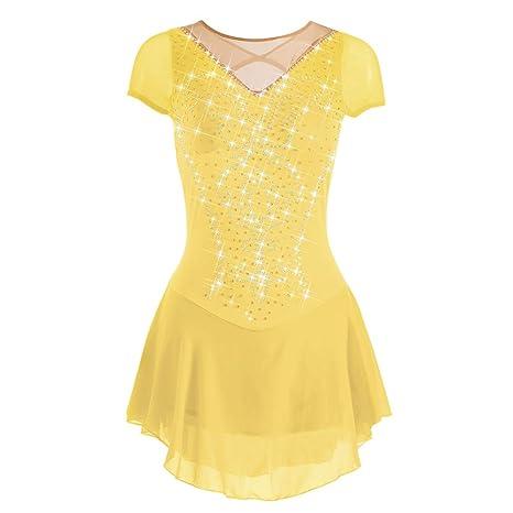 Kmgjc Vestido de Hielo de Patinaje para niñas y Mujeres, la ...