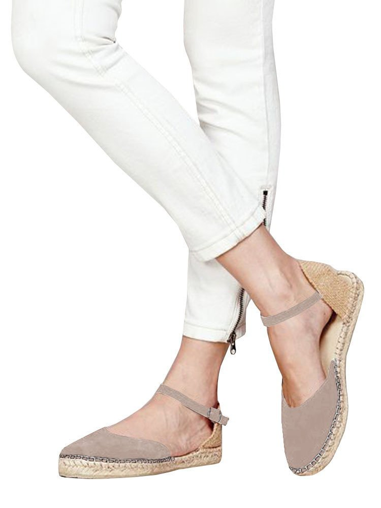 Huiyuzhi Womens Ankle Straps Buckle Espadrilles Flat Sandals Platform D'Orsay Dress Sandal B07DKYZ3GG 7.5 B(M) US|1-khaki