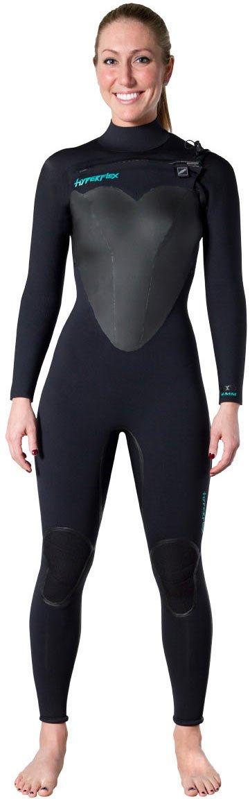 Hyperflex Wetsuits Women's Voodoo 4/3mm Front Zip Fullsuit, Black, 14 by Hyperflex