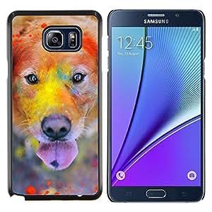 Perro del labrador retriever de oro colorido- Metal de aluminio y de plástico duro Caja del teléfono - Negro - Samsung Galaxy Note5 / N920