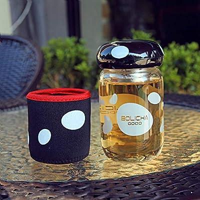 SWXC 280 ml Lindo Divertido Botella de Agua de Setas con infusor de té Manga Bicicleta Deporte Botella de Vidrio niña niños Amante drinkware: Amazon.es: Hogar