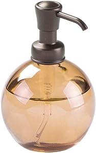 mDesign Round Glass Refillable Liquid Soap Dispenser Pump Bottle for Bathroom Vanity Countertop, Kitchen Sink - Holds Hand Soap, Dish Soap, Hand Sanitizer, Essential Oils - Sand Brown/Bronze