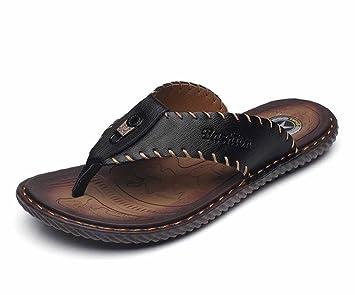 Chanclas de cuero de la moda de los hombres 2018 zapatillas de deporte frescas de la nueva tendencia de las sandalias: Amazon.es: Deportes y aire libre