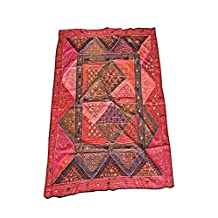 Mogul Bohemian Tapestry Embroidered Handmade Patchwork Red Wall Hanging 90x80
