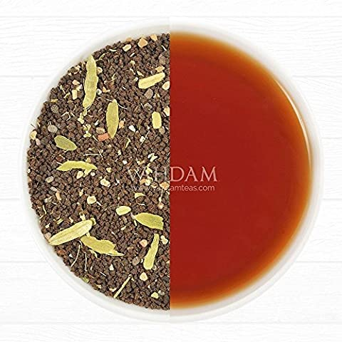 Cardamom Chai Spiced Black Masala Tea, Premium Assam CTC Blended with Fresh Indian Cardamom (Elaichi), Loose Tea, 3.53oz/100g (Makes 35-40