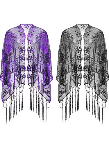 Cape Christmas Ornament - Blulu 2 Pieces Evening Shawl Sequin Cape Shawl with Tassel Women's 1920s Scarf for Wedding Evening Party Dress (Black and Purple)