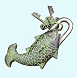 Antiques World Vintage Solid Brass Buddhist Tibet Collectible Décor Locks Antique Old Green Fish Puzzle Padlock AWUSABL 03