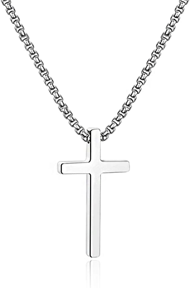 M MOOHAM Cross Necklace for Men, Silver Black Gold Stainless Steel Plain Cross Pendant Necklace for Men Box Chain 16-30 Inch