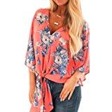 Clearance Forthery Womens Floral Blouse Chiffon Short Sleeve V Neck Tie Front Tops Shirts (XL, Watermelon Red)