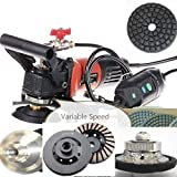 "Wet Polisher Grinder Sander 1/2"" Diamond Radius Bullnose Router Bit 5"" Polishing Pad grinding cup aluminum backer 27+1 stone treatment travertine concrete granite marble quartz grinding sanding -  Diamond Abrasive and Power Tools"