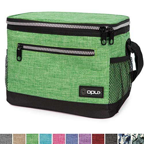 OPUX Premium Lunch Box, Insulated Lunch Bag for Men Women Adult | Durable School Lunch Pail for Boys, Girls, Kids | Soft Leakproof Medium Lunch Cooler Tote for Work Office | Fits 8 Cans (H Green)