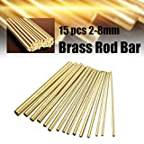 KING DO WAY Brass Rod Bar Brass Rods Solid Rod Brass Tube 15Pcs Round Copper Bar Dia 2-8mm Copper Tool for DIY 100mm Length