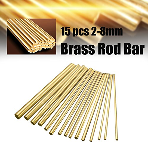 KINGSO Brass Rods Solid Rod Brass Tube 15Pcs Round Copper Bar Dia 2-8mm Copper Tool for DIY 100mm Length
