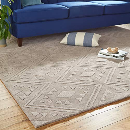 Stone & Beam Shooting Star Modern Diamond Pattern Wool Area Rug, 8' x 10', Taupe (Rugs Area Neutral Wool)