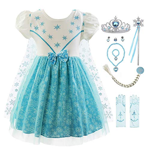 Padete Baby Girl Princess Anna Alice Elsa Little Mermaid Snow White Dress Costume (18-24 Months, Elsa with Accessories)]()