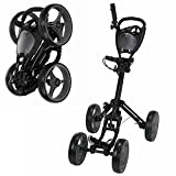 Caddymatic Golf Quad 4-Wheel Folding Golf Pull / Push Cart Black