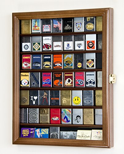 sfDisplay.com, Factory Direct Display Cases 56 Zippo Lighter Display Case Cabinet Holder Wall Rack -Walnut