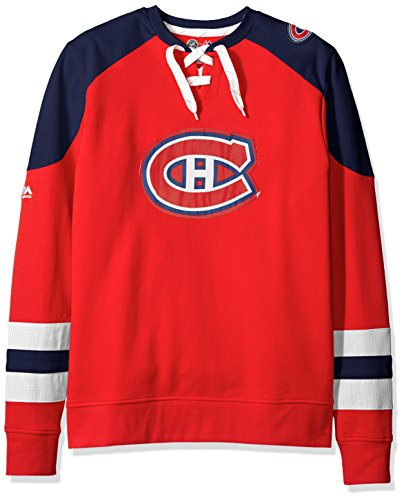 VF LSG NHL Montreal Canadiens Men's Centre Long Sleeve Crew Neck Pullover Sweatshirt, Large, Red/Navy/White