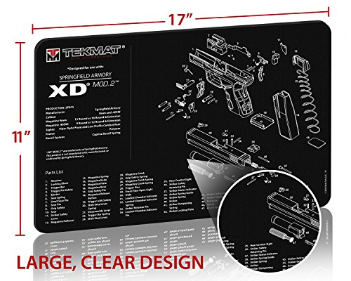 TekMat Springfield Armory XD MOD.2 Cleaning Mat / 11 x 17 Thick, Durable, Waterproof / Handgun Cleaning Mat with Parts Diagram and Instructions / Armorers Bench Mat / Black