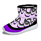 FOR U DESIGNS Cute Purple Girls Winter Warm Lightweight Short Snow Boots US 3
